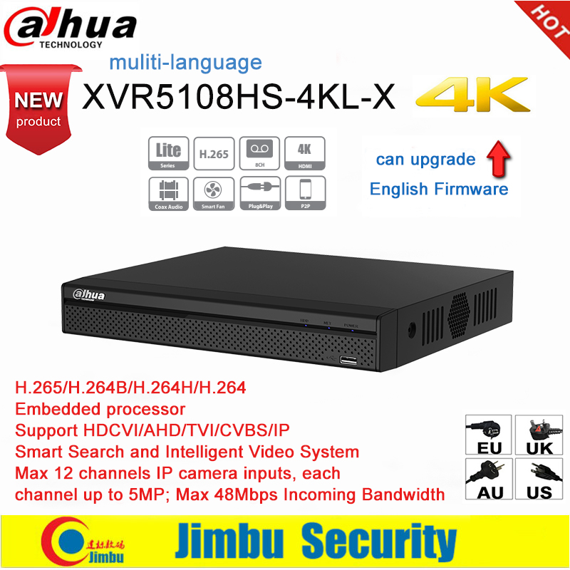 Dahua XVR XVR5108HS-4KL-X 4K H.265 / H.264 IVS Smart Search up to 5MP Supports HDCVI/AHD/TVI/CVBS/IP video inputs PSP DVR