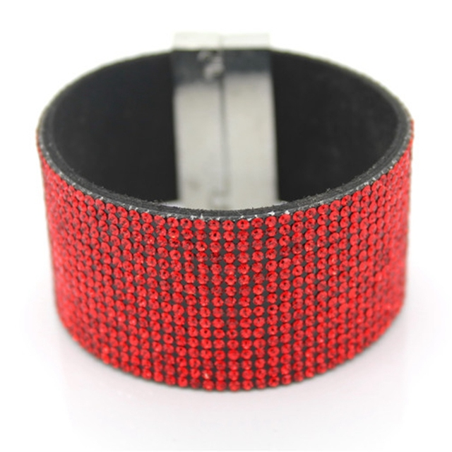 XQNI Brand Classic Crystal Female Leather Bracelet Bangles 19CM High Quality Rhinestone Wrap Charm Women Bracelet Jewelry