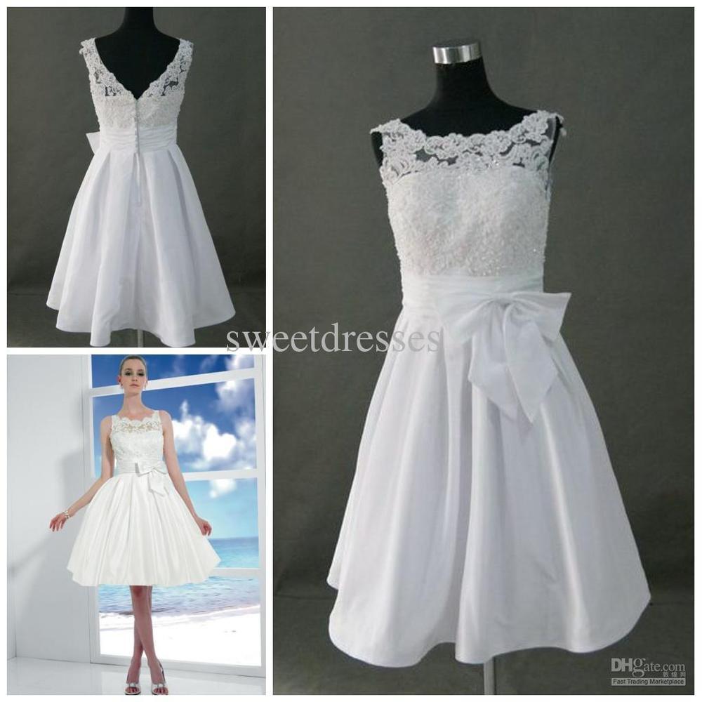 Shipping Custom Dress Line Knee: Real Photo A Line Short Knee Length Lace Wedding Dress