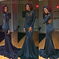 Long See Through Prom Dresses 2017 High Neck Backless Lace Appliques Navy Blue Mermaid Evening Dress vestido de festa longo