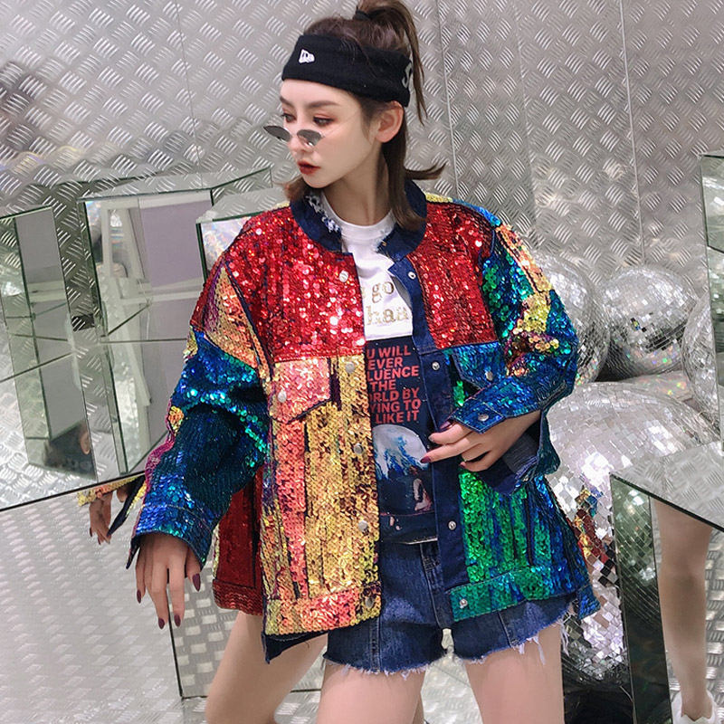 Spring Fashion Streetwear Colors Sequins Denim Jacket Womens Loose Plus Size Coats and Jackets Women Punk
