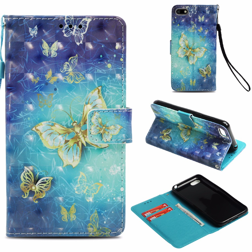For <font><b>Huawei</b></font> <font><b>Y</b></font> <font><b>5</b></font> Y5 Prime <font><b>2018</b></font> <font><b>Case</b></font> Flip Cover 3D Glossy Bling Painting Leather PU <font><b>Phone</b></font> Shell Capa <font><b>5</b></font>.45 inch For <font><b>Huawei</b></font> Y5 (<font><b>2018</b></font>) image