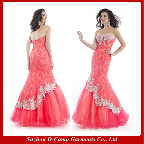FREE SHIPPING OC 2402 Noticeable coral and fuchsia designer evening ...