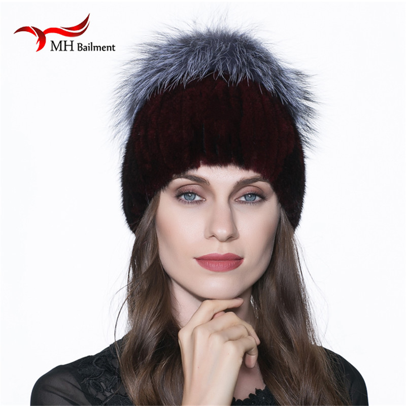 Women Real Mink Knit Hat with Silver Fox Fur Collar Mink Casual Solid Color Winter Warm Thickening Pompom Beanies Solid Hat H#55 foreign trade explosion models in europe and america in winter knit hat fashion warm mink mink hat lady ear cap dhy 36