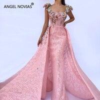 ANGEL NOVIAS Long Mermaid Pink Abendkleider Elegant Lace Arabic Evening Dress 2018 Dubai Formal Kaftan robes de soiree 2018 long