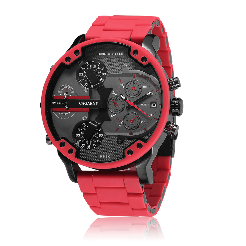 Classic Red Quartz Watch Men Luxury Brand Cagarny Dual Times Miltiary Relogio Masculion Silicone Steel Band Sports Wristwatches