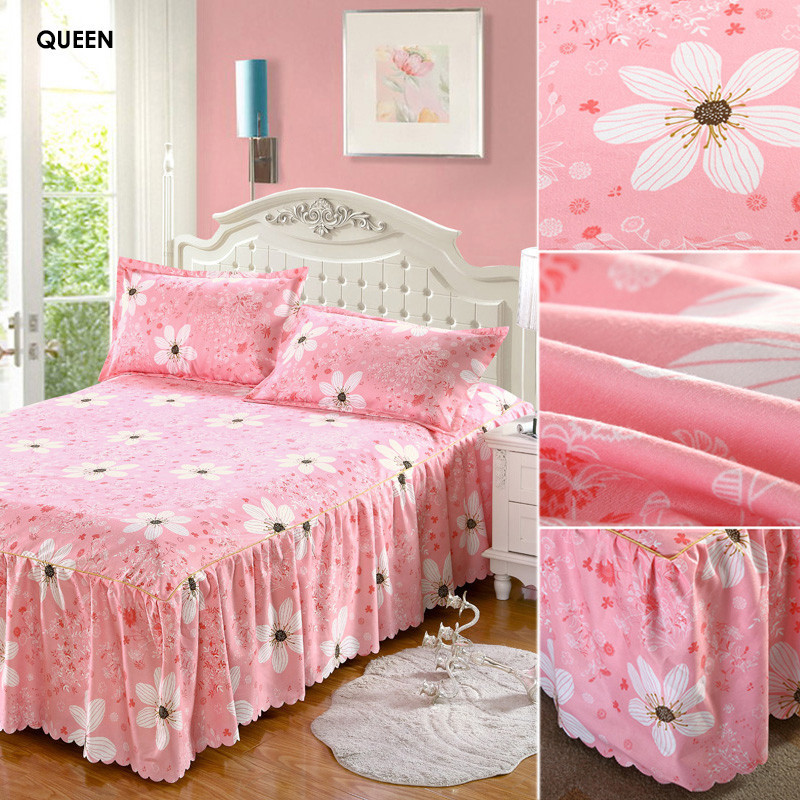 polyester cotton bed skirt bedspread mattress cover elegant printed floral bed covers sheets twin full queen size jacquard style in bed skirt from home