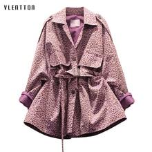 2019 Spring Vintage Female Jackets Tops Turn-down collar Long Sleeve Sashes Overcoat Leopard Printing Korean Fashion Women Coat