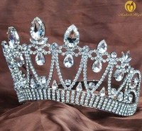 Miss Beauty Pageant Tiara Diadem Hair Contoured Crown Handmade Crystal Rhinestone Bridesmaid Veil Hairband Bridal Prom