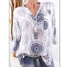 Women's Shirts Spring Casual V-Neck White Chiffon Blouse Women Top Camisa Feminina Long Sleeve Blouses Print Blouse Femme Shirt стоимость
