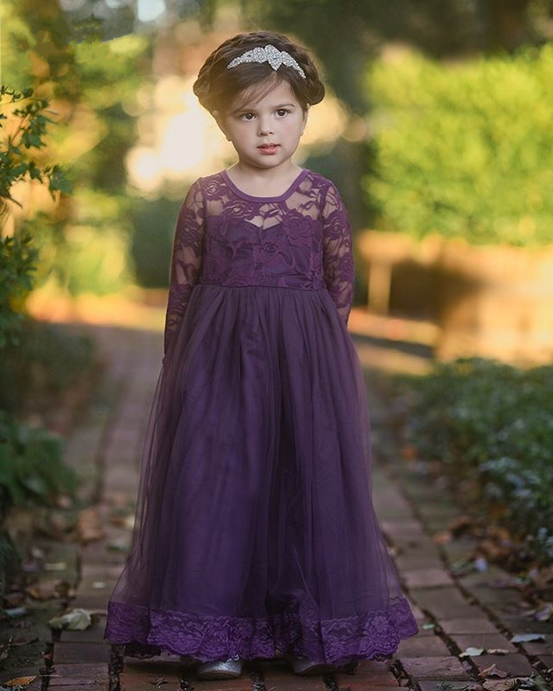 Custom Made Flower Girl Dresses for Wedding Blue Lace Tulle Princess Dresses 2018 Girls Customized Gown Long Sleeve