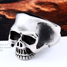 One Piece Sale Three Color Cool Skull For Man Stainless Steel Boy's Punk Unique Ring Jewelry BR8-323(China)