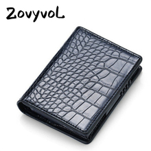 ZOVYVOL Leather alligator Credit Card Holder Aluminum Alloy RFID Blocking Wallet for Men Women PU Business