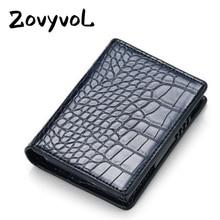 ZOVYVOL Leather alligator Credit Card Holder Aluminum Alloy RFID Blocking Wallet for Men Women PU Business