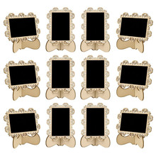 30pcs/lot vintage holder wooden decorative blackboard message memo clip board price display tool