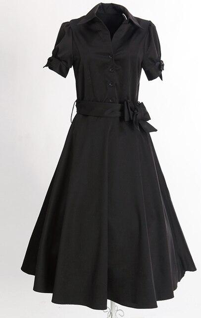 c2548349ab Damskie Zimowe Suknie Czarna Długa Sukienka 50 s 60 s Vintage Retro  Sukienka Rockabilly Pinup Swing