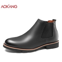 AOKANG 2018 Autumn Shoes Men Genuine Cow Leather Men Chelsea Boots High Quality Fashion Ankle Boots Round Toe bota masculina
