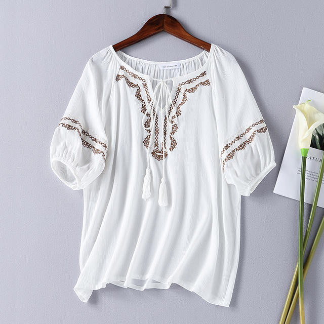 f98f40e172dcb Women Fashion Brief Strip Embroidery Blouse Shirts Cotton Drawstring Neck  Half Lantern Sleeve Ladies Loose Summer