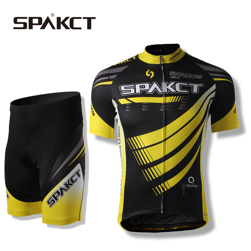 SPAKCT Riding Bike Men's Jacket Sets-Phantom Short Sleeve&Shorts Professional MTB Cycling Sportswear,Black-Yellow spakct s13t02 bike bicycle cycling riding shorts black red white size l