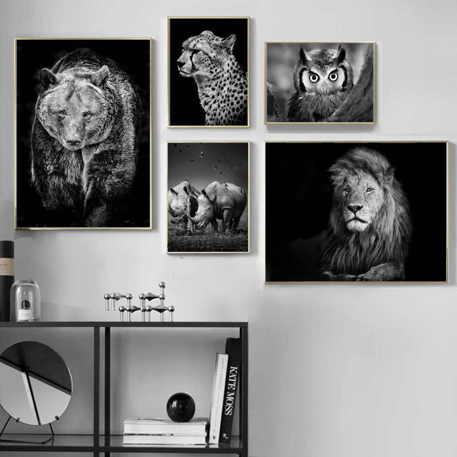 Black White Lion Bear Rhino Leopards Owl Wall Art Canvas Painting Nordic Posters And Prints Wall Pictures For Living Room Decor