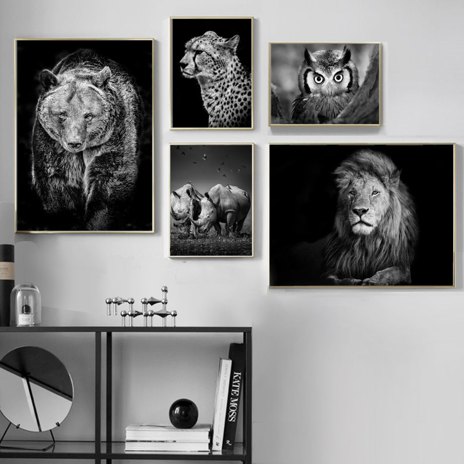 Black white lion bear rhino leopards owl wall art canvas painting nordic posters and prints wall pictures for living room decor in painting calligraphy