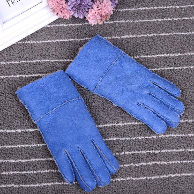 Зимние перчатки, детские перчатки с натуральным мехом для детей, толстые кожаные перчатки с кроличьим мехом, шерсть, Детские российские теплые перчатки с пятью пальцами - Цвет: light blue