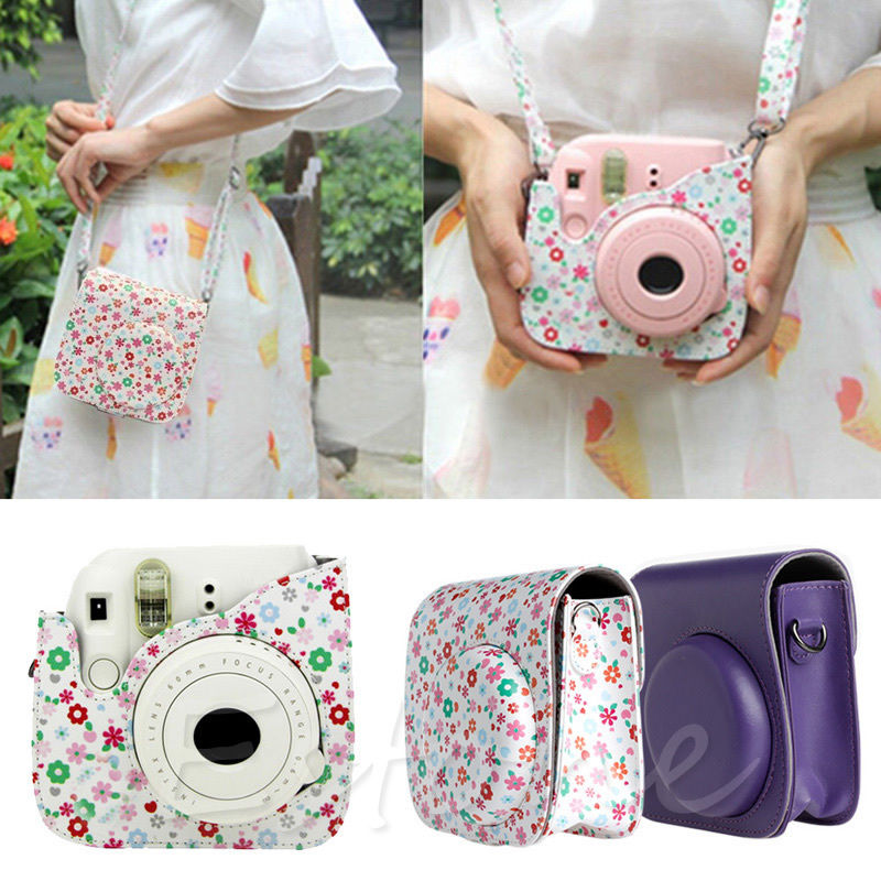NoEnName_Null Flower Faux Leather Camera Case Bag Protector For Fujifilm Polaroid Instax Mini8