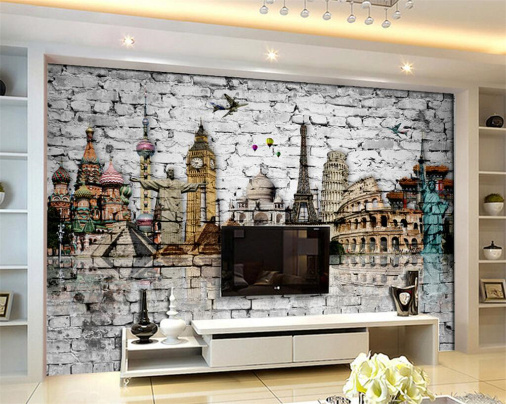 Beibehang custom wallpaper living room bedroom wall for Bedroom w brick wall
