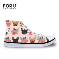 FORUDESIGNS Sneakers for Children Football Boots Cute French Bulldog Printing Children Shoes for Girls Boys High Top Flat Shoes