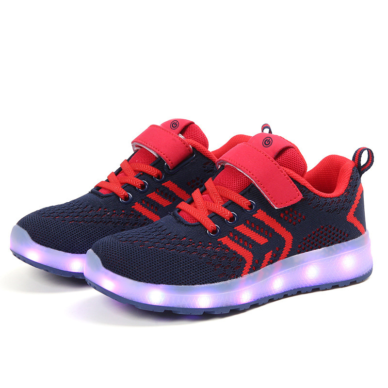 Children Sneakers Flying Woven Kids Shoes For Girl Soft Line Light Up Buty Led  Shoes Kids Colorful