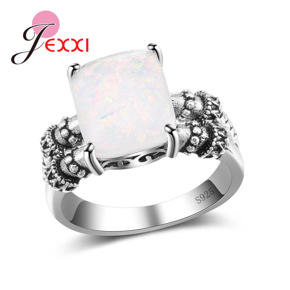 JEXXI Vintage Fine Big Aquare Opal S90 Silver Geometric Ring For Women Female Party Engagement Jewelry Wholesale