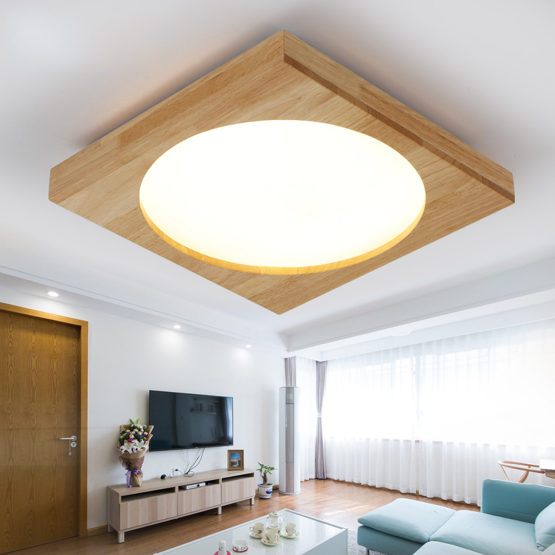 Surface Mounted Modern OAK led ceiling lights for living room bedroom wooden led light fixture lampara de techo lighting free shipping wooden surface or sling mounting 100 240vac 4000k led panel light ceiling light wholesales