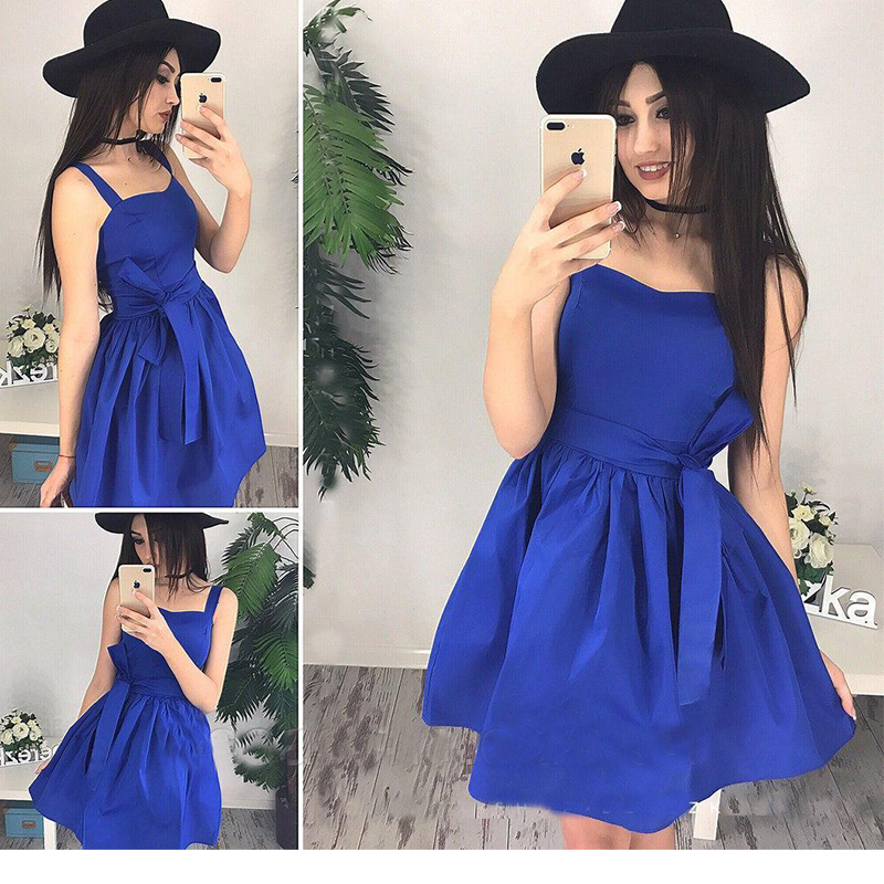 Women Vintage Sashes Spaghetti Strap Dress Sleeveless A line Solid Sexy Party Dress 2018 Summer Strapless Casual  Women Dress