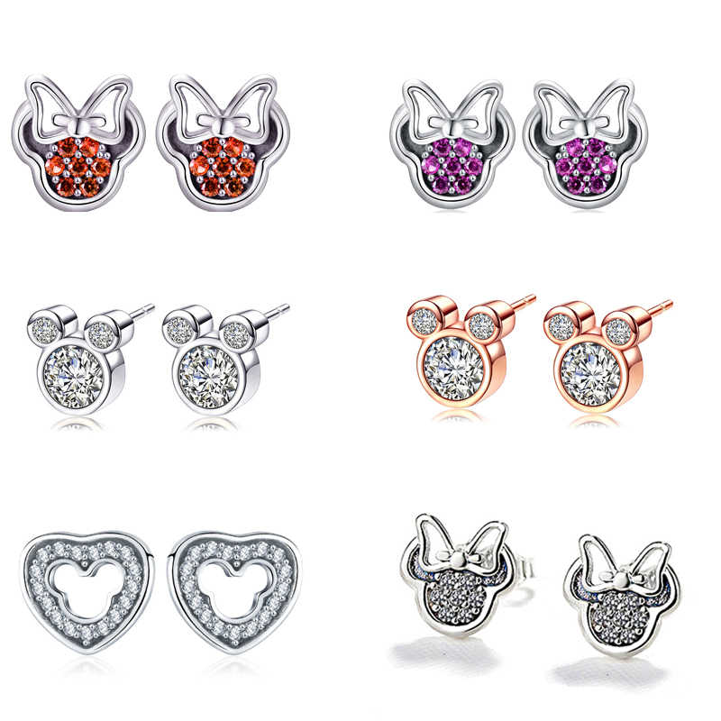 Mickey Minnie Silver Color Stud Earring For Women Girl Sparkling Rhinestone Brand Earring Fashion Jewelry Dropshipping