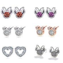 2e55ffe946a8 Mickey Minnie Mouse de Color plata Stud aretes para las mujeres chica  brillante de diamantes de imitación Pandora pendiente joye.