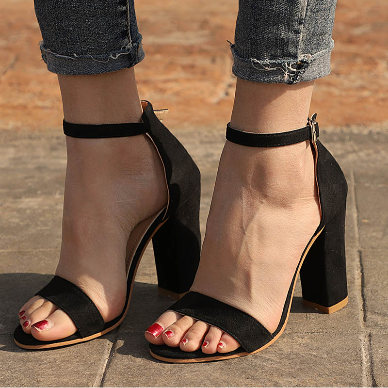 Women Sandals Summer Shoes Flock Block Heels Buckle Strap Ladies Classic Sandals Female Fashion High Heels Zapatos De Mujer