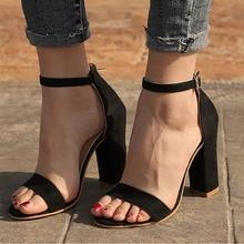 Women Sandals Summer Shoes Flock Block Heels Buckle Strap La