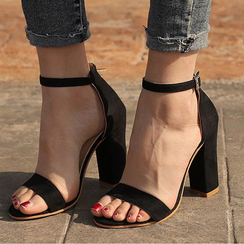 Women Sandals Summer Shoes Flock Block Heels Buckl