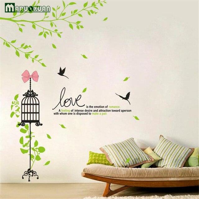 Birdcage decoratieve muurstickers verse groene sticker diy decoratie ...