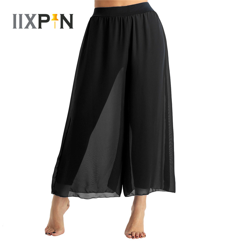 IIXPIN Women Belly Dance Chiffon Harem Pants Flowy High-waisted Belly Dance Loose Wide-leg Pants Performance Costume Dance Pants
