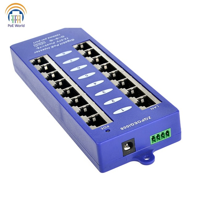 802.3af Mid span PoE injector Mode B(4/5+,7/8 ) Passive Gigabit 8 Port PoE Injector For Mikrotik UBNT CCTV Network