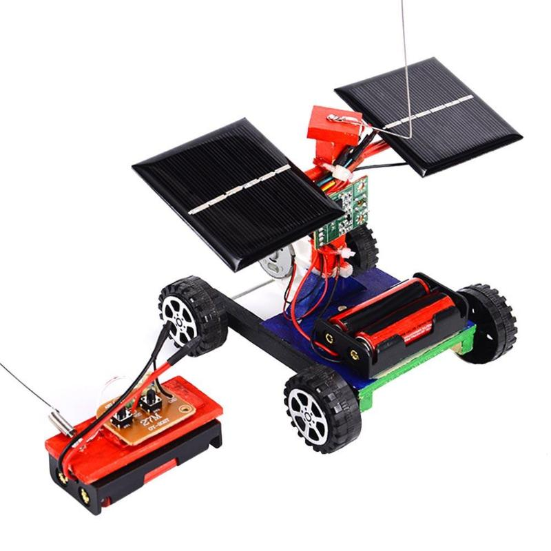 Assembly RC Toys DIY Mini Wooden Car Wireless Remote Control Vehicle Model DIY Solar Car Kids Toy Science Educational Toy solar powered magic autonomous mini car toy