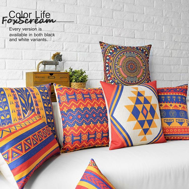 Strange Us 4 04 19 Off Bohemian Decorative Throw Pillows Cover Vintage Pink Blue Cushions Cover Home Decor Geometric Pillowcase Plaid Striped Cushion In Ibusinesslaw Wood Chair Design Ideas Ibusinesslaworg