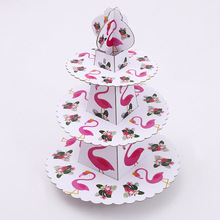 Girls Kid Favors Birthday Party Decorate Cupcake Holder Happy Baby Shower 3 Tier Flamingos Theme Paperboard Cake Stand 1set/pack