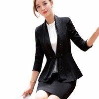 2 Pieces Sets Elegant Black Skirt Suit Full Sleeve Blazer Jacket & Skirt Women Formal Work Wear Skirt Suits