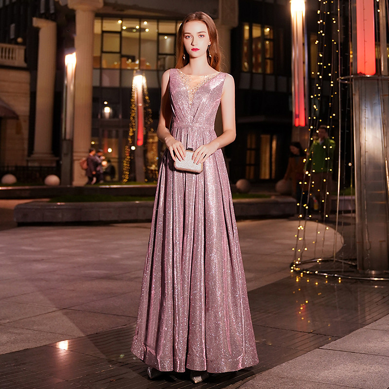 2019 New V Neck New Arrivals Luxury Elegant Long A Line Evening Dresses Party Gowns Formal Robe De Soiree LYFY44
