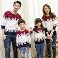 Бесплатная доставка зима семья одежда Рождество Свитер Пары Папа Пн Дети с длинными рукавами свитер футболка семья соответствия