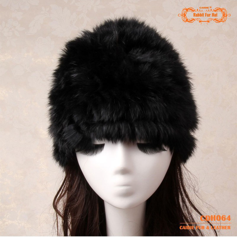 Fur Hat Women's Hat 100% Natural Knitted Genuine Rabbit Fur Winter Hats For Women Fashion Cap Warm Beanies Lady headwear  Bone