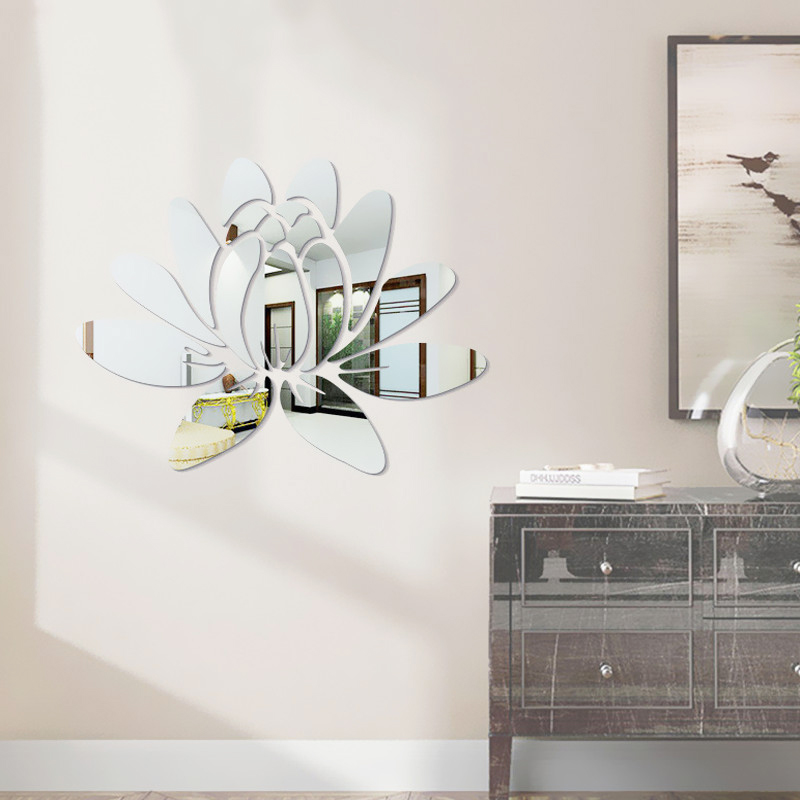 Creative Elegant Lotus 3d Decorative Acrylic Mirror Wall Stickers
