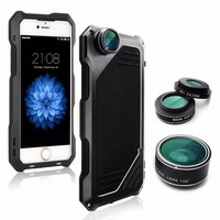 cover For iphone 5 case+Fisheye Wide lensmetal protective shell for iphone 5s se Anti drop dust and water Diving photography